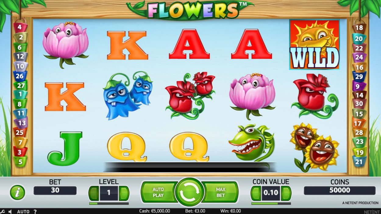 Title screen for Flowers slot game