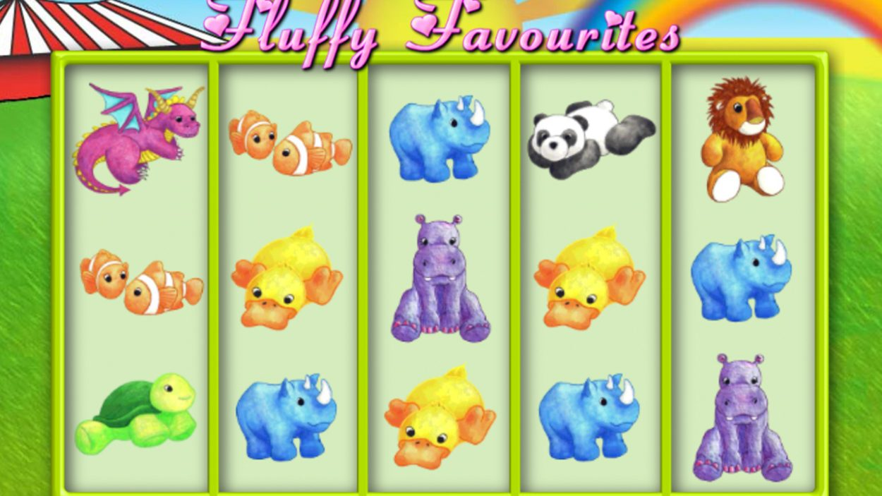 Title screen for Fluffy Favourites slot game
