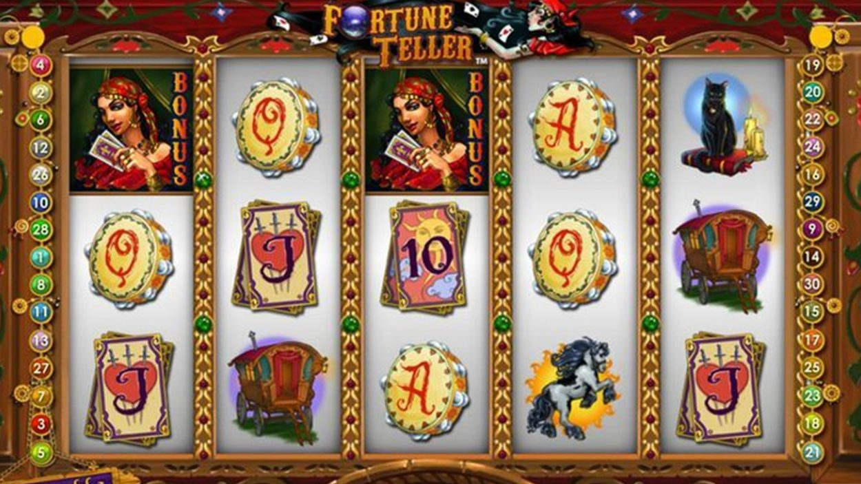 Title screen for Fortune Teller Slots Game