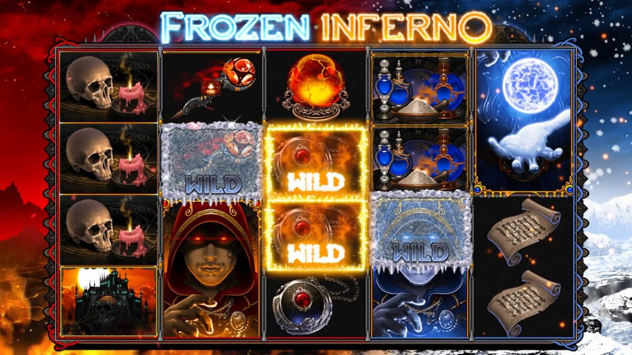 Title screen for Frozen Inferno Slots Game
