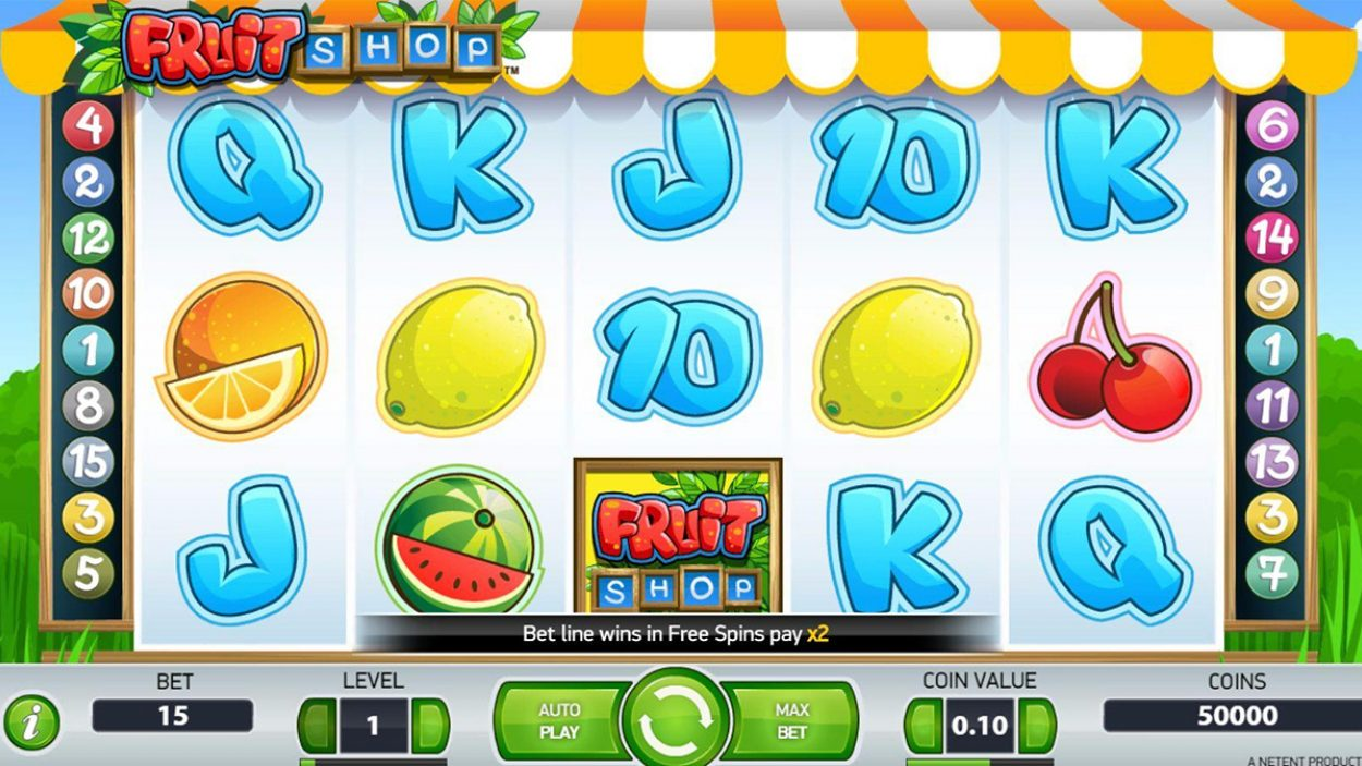 Title screen for Fruit Shop Slots Game