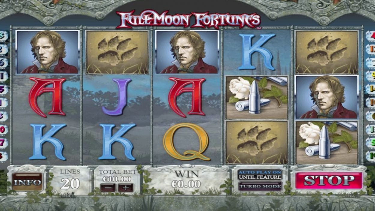 Title screen for Full Moon Fortunes Slots Game