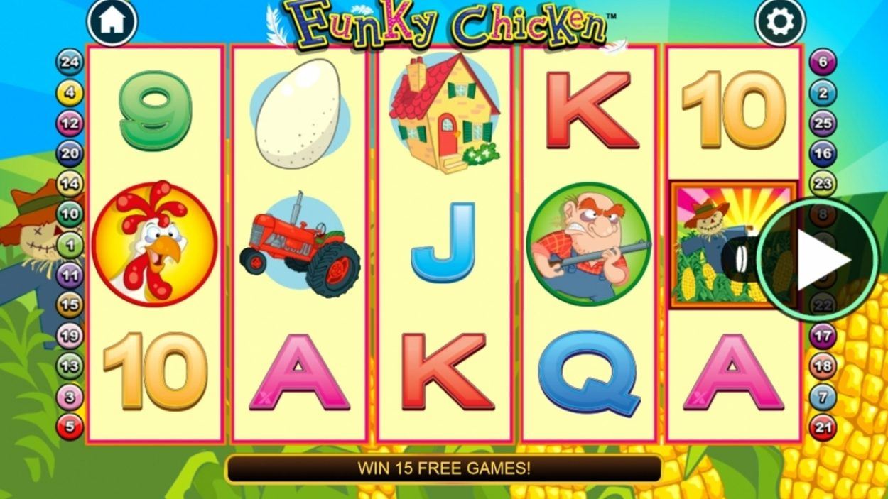 Title screen for Funky Chicken Slots Game