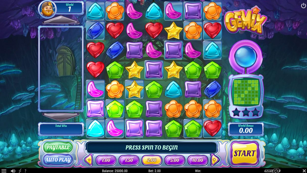Title screen for Gemix slot game