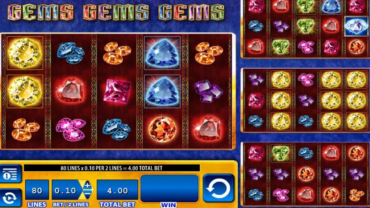 Title screen for Gems Gems Gems Slots Game