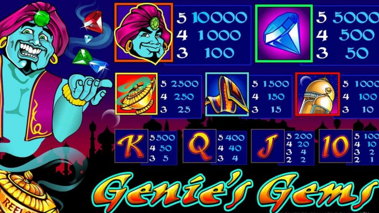 Title screen for Genie's Gems Slots Game