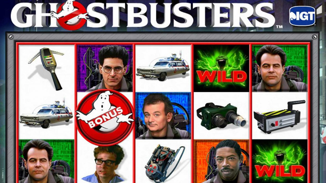 Title screen for Ghostbusters slot game
