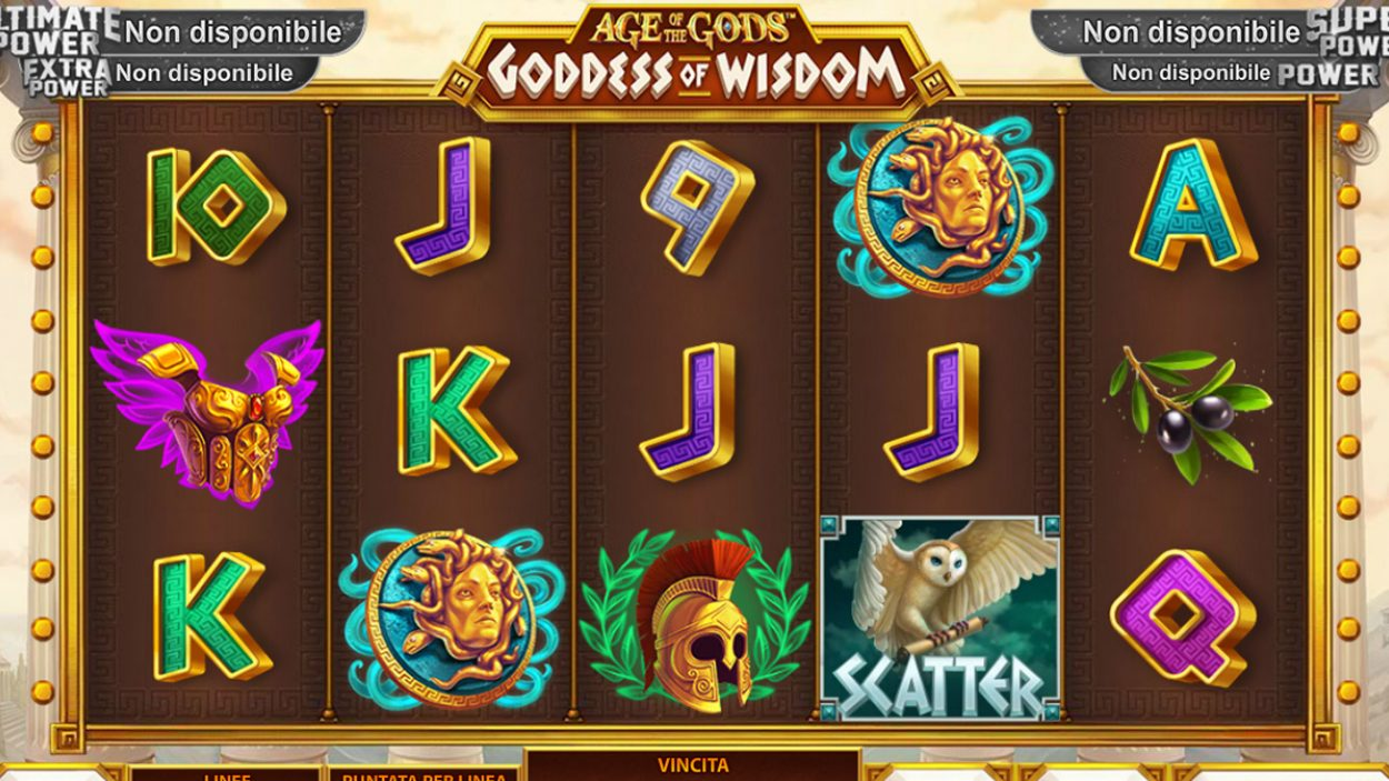 Title screen for Goddess Of Wisdom Slots Game
