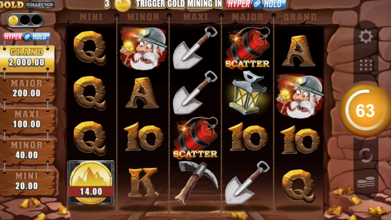 Title screen for Gold Collector slot game