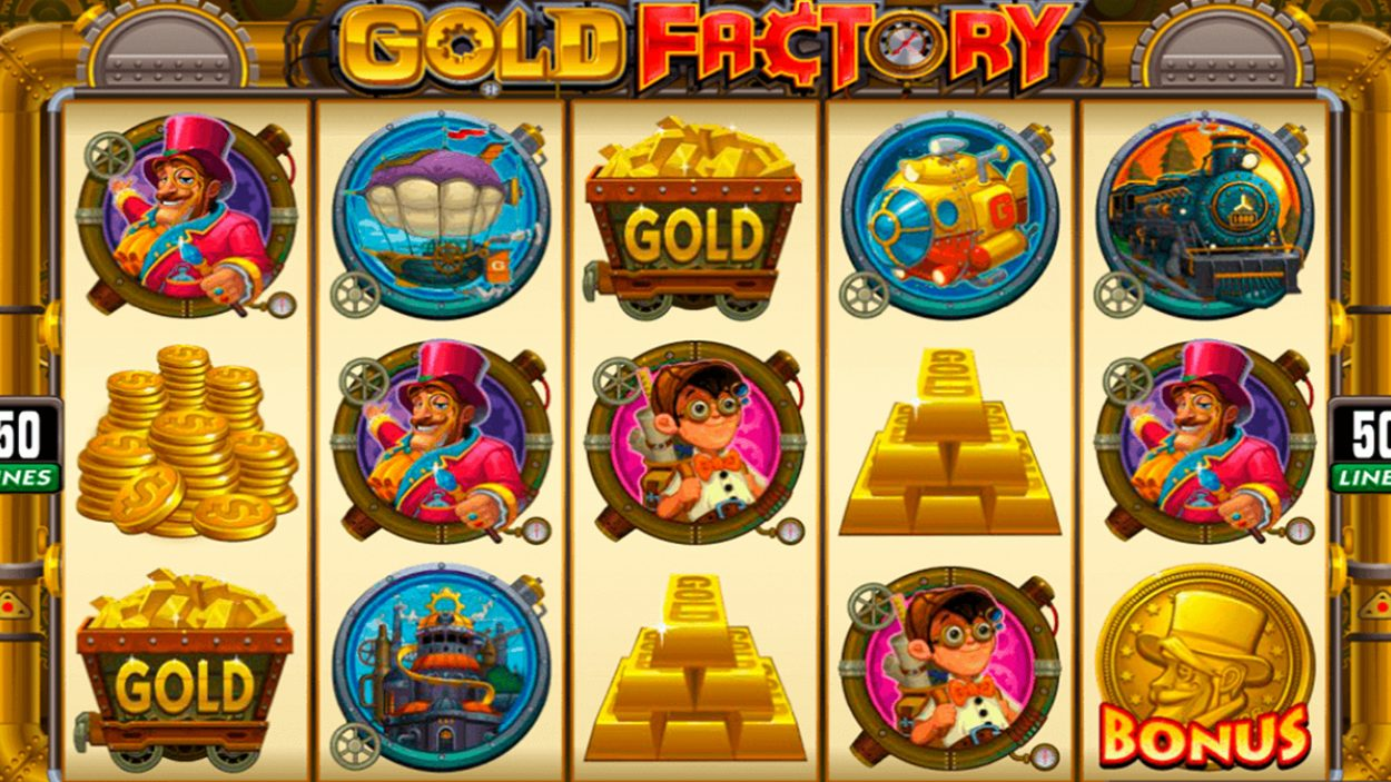 Title screen for Gold Factory Slots Game