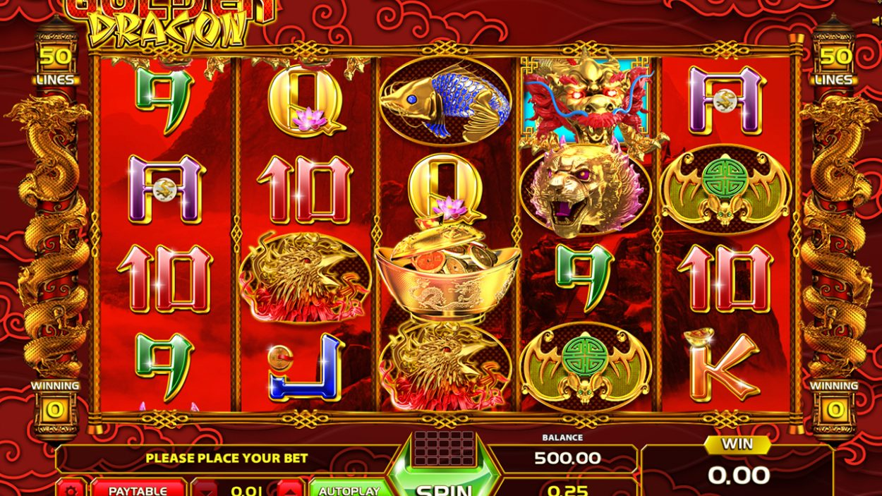 Title screen for Gold Dragon slot game
