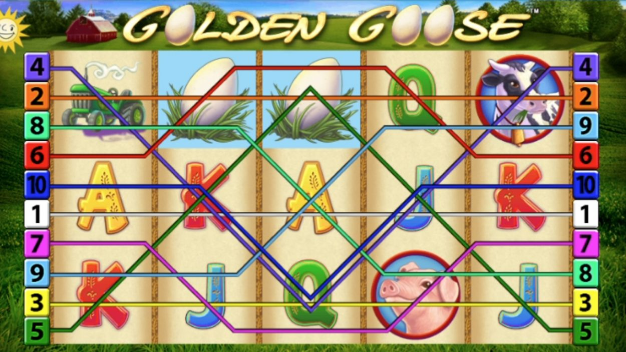 Title screen for Golden Goose slot game