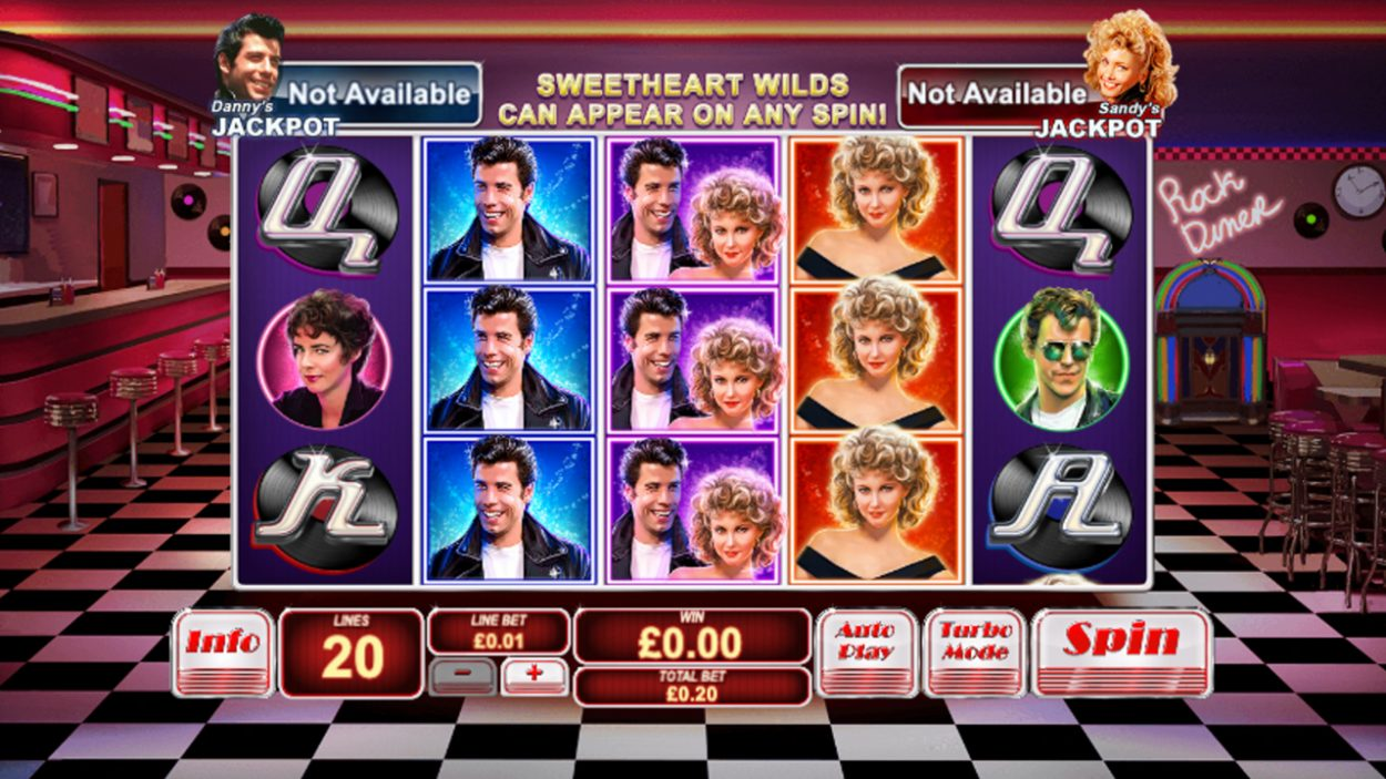 Title screen for Grease slot game