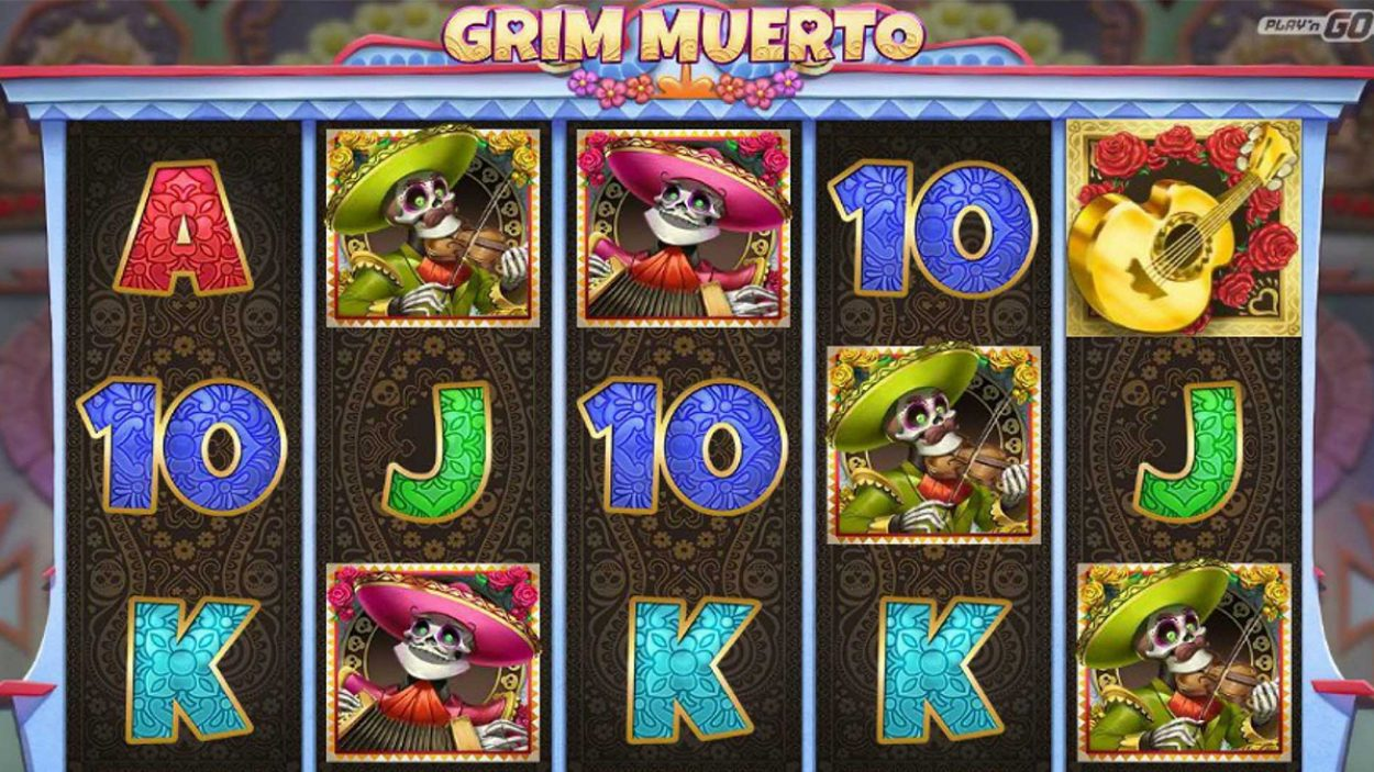 Title screen for Grim Muerto Slots Game