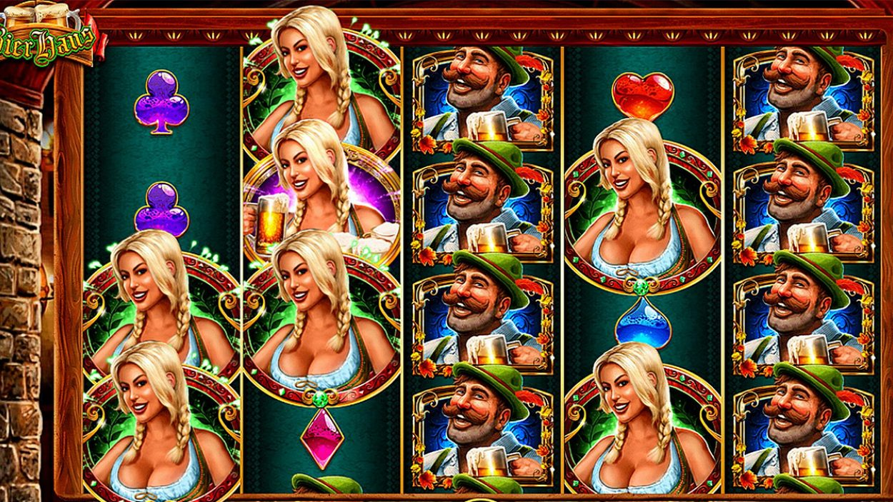 Title screen for Heidis Bier Haus Slots Game