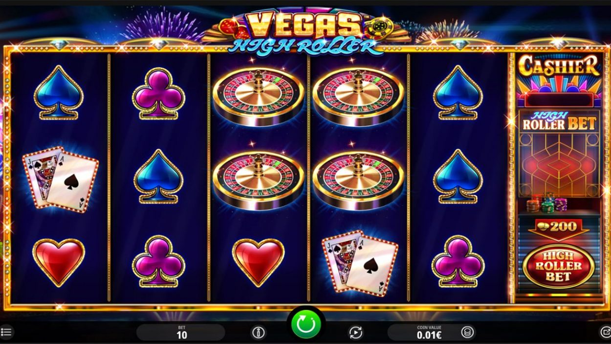 Title screen for High Roller slot game
