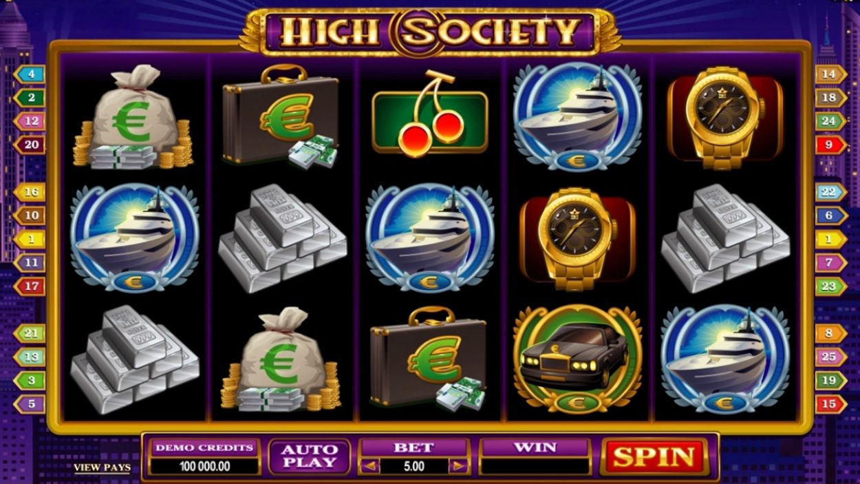 Title screen for High Society Slots Game