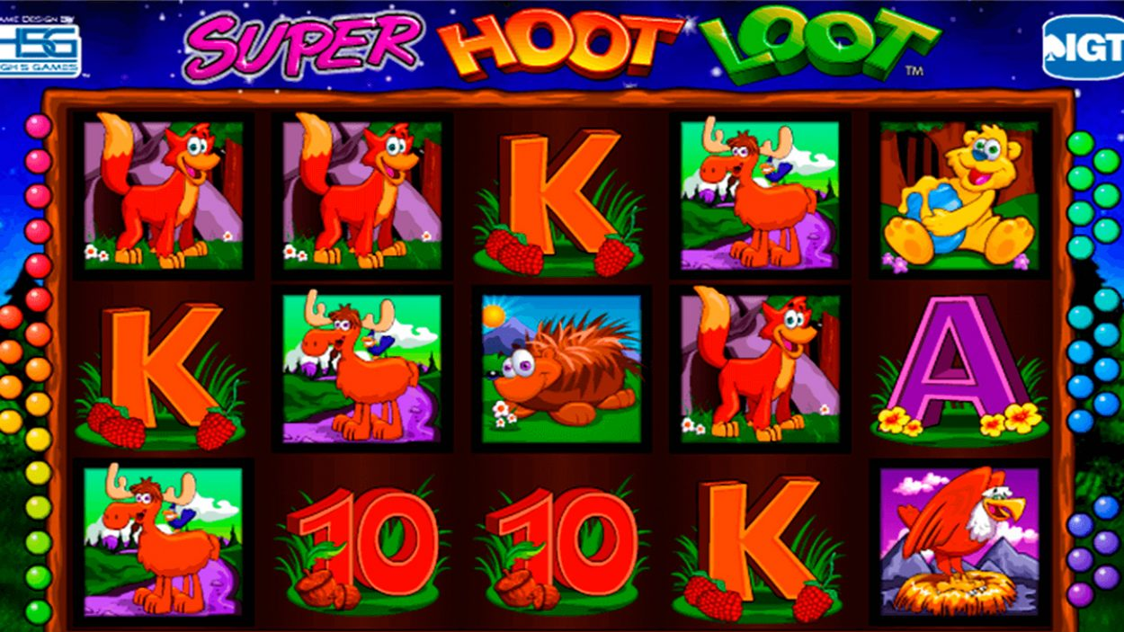Title screen for Super Hoot Loot slot game