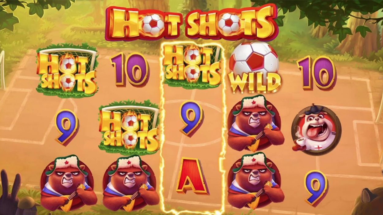 Title screen for Hot Shots slot game