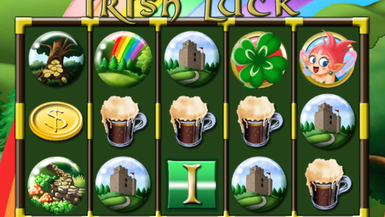 Title screen for Irish Luck slot game