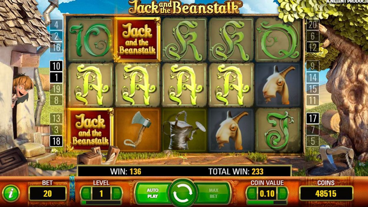 Title screen for Jack Beanstalk Slots Game