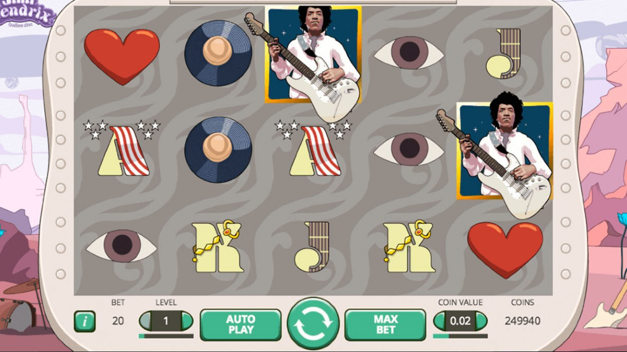 Title screen for Jimi Hendrix Slots Game