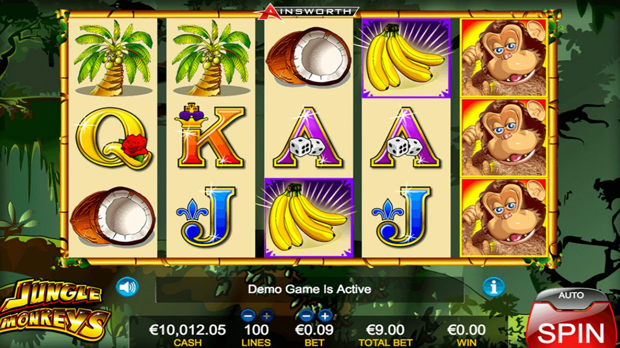 Title screen for Jungle Monkeys slot game