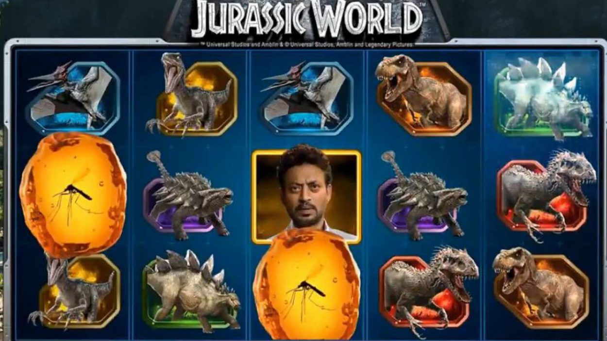 Title screen for Jurassic World Slots Game