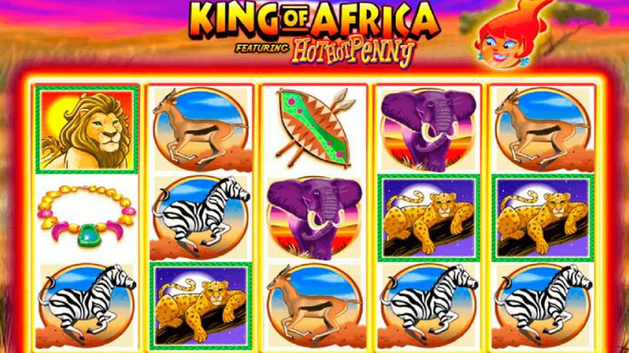 Title screen for King of Africa slot game