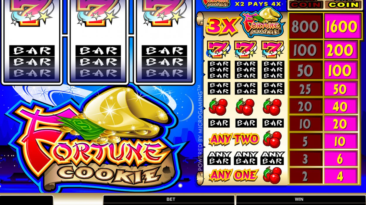 Title screen for Fortune Cookie slot game