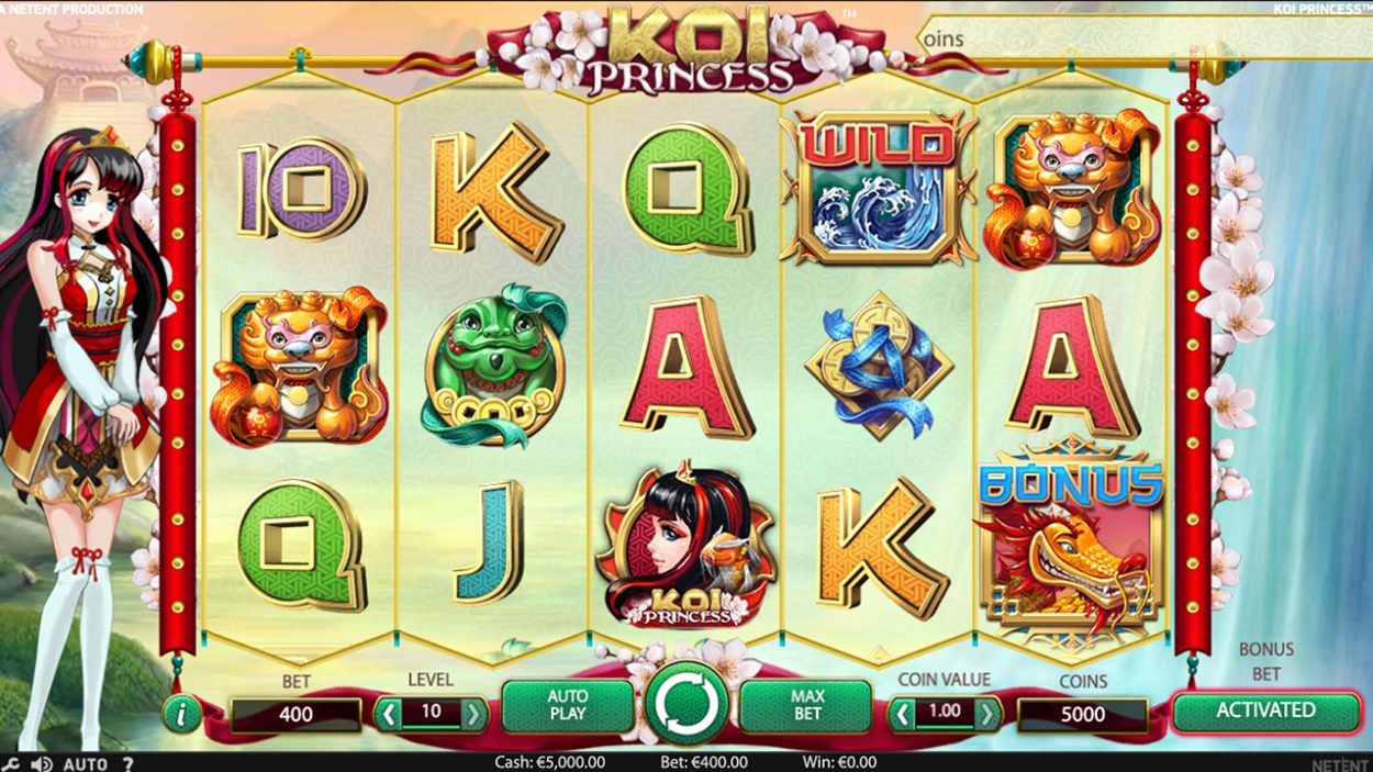 Title screen for Koi Princess slot game
