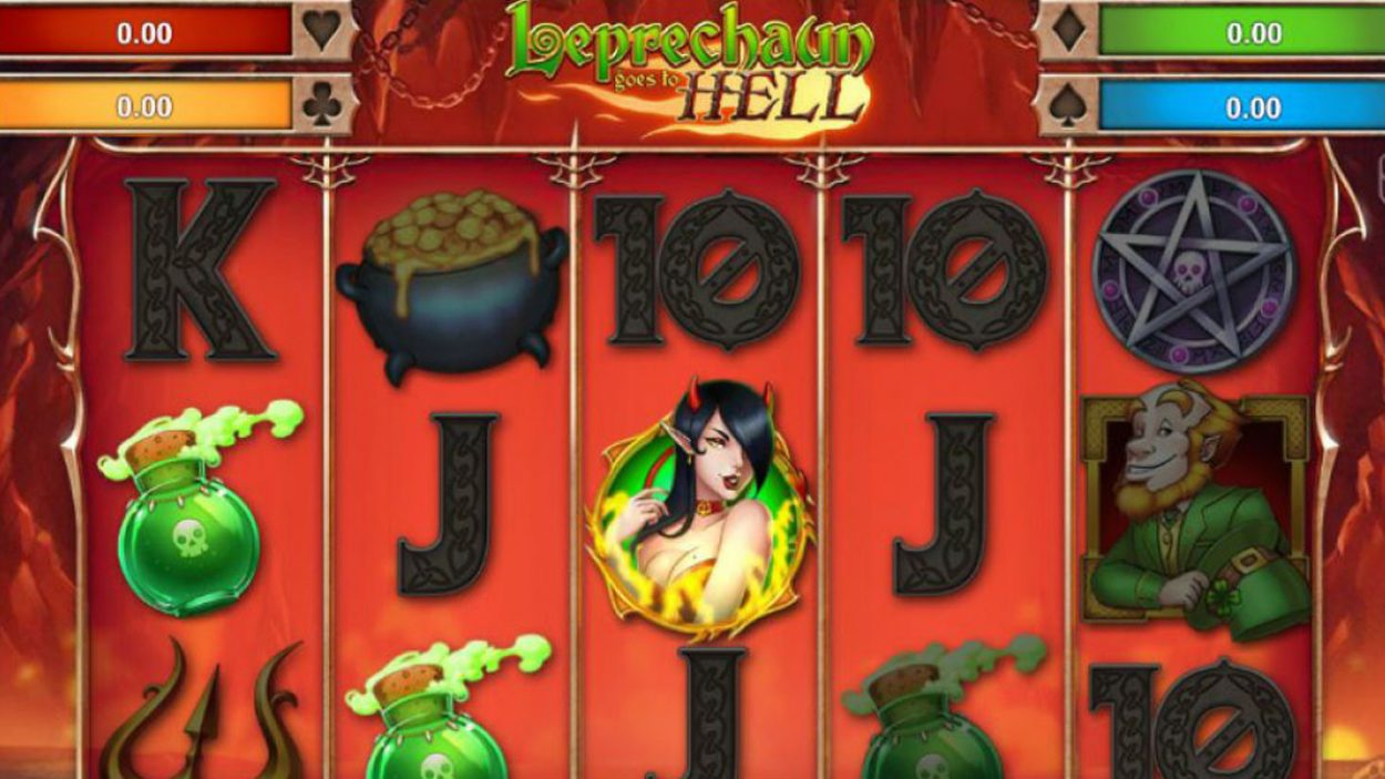 Title screen for Leprechaun Goes To Hell Slots Game