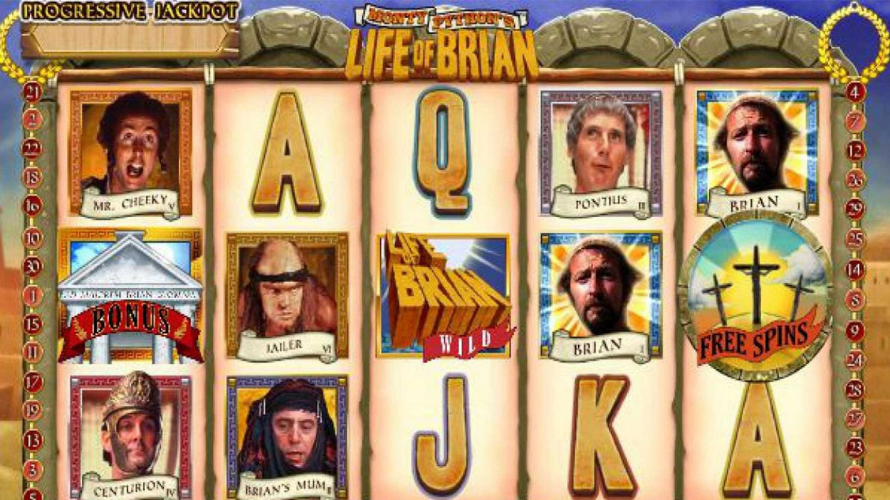 Title screen for Life of Brian slot game