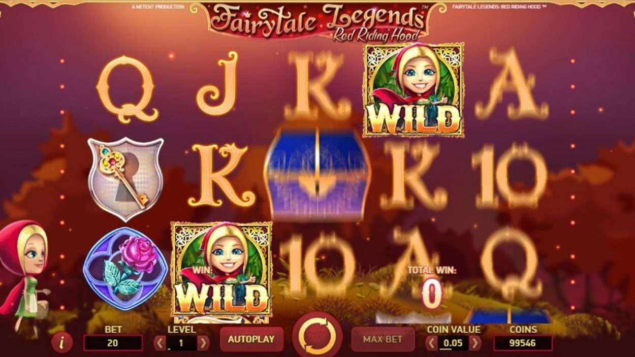 Title screen for Little Red Riding Hood slot game