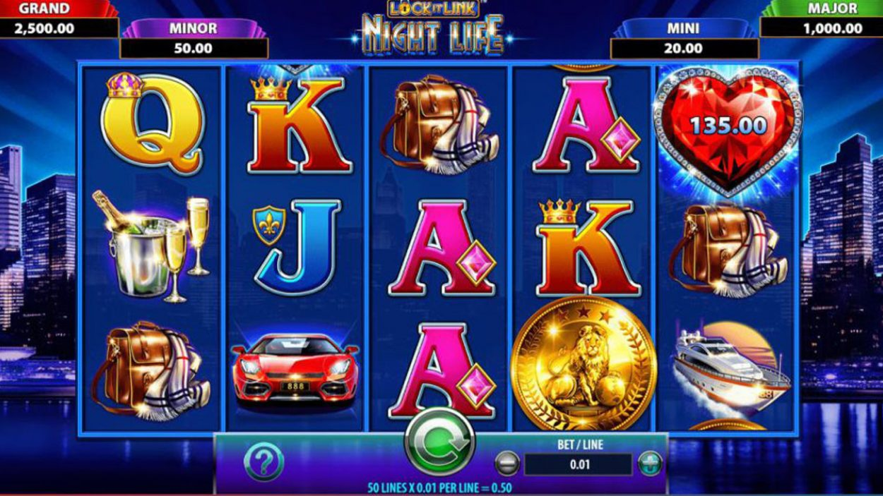 Title screen for Lock It Link Night Life Slots Game
