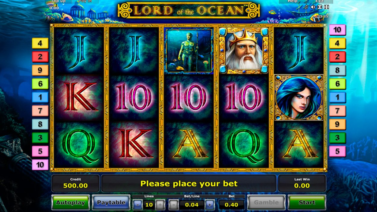 Title screen for Lord of the Ocean slot game