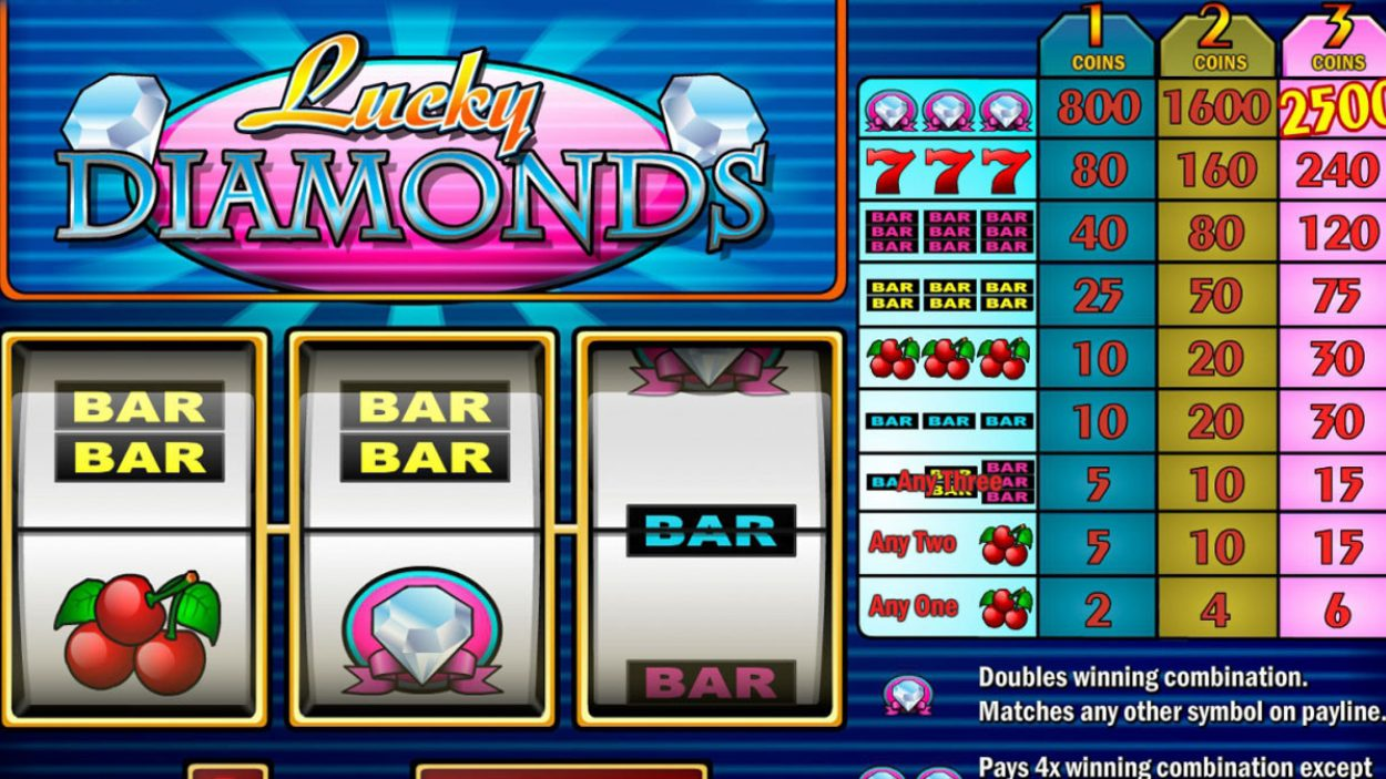 Title screen for Lucky Diamonds Slots Game