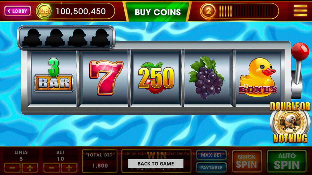 Title screen for Lucky Ducky slot game