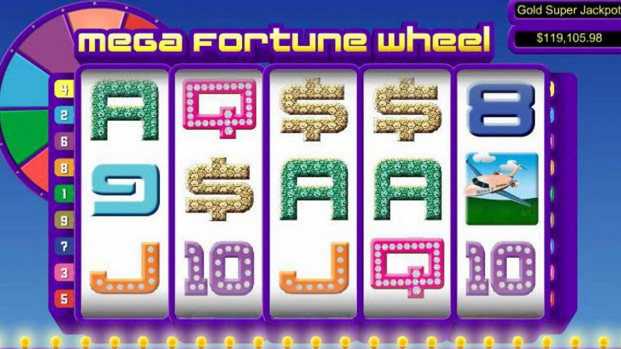 Title screen for Mega Fortune Wheel Slot Game