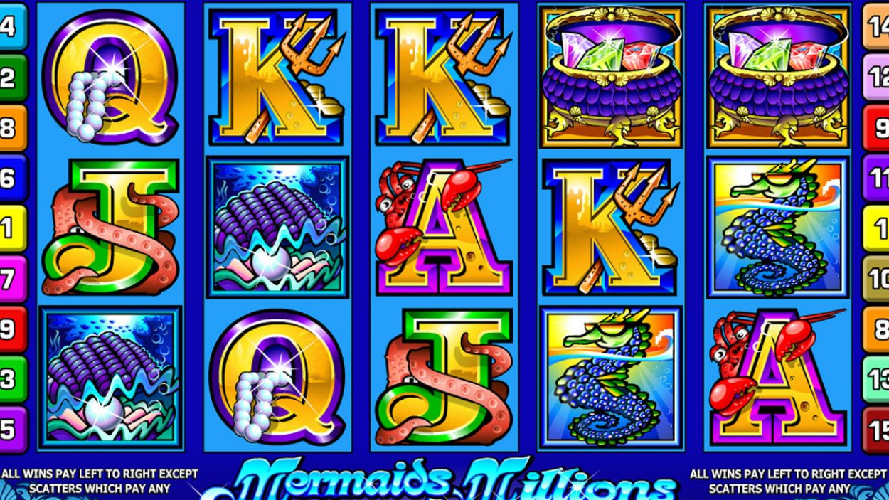 Title screen for Mermaids Millions Slots Game