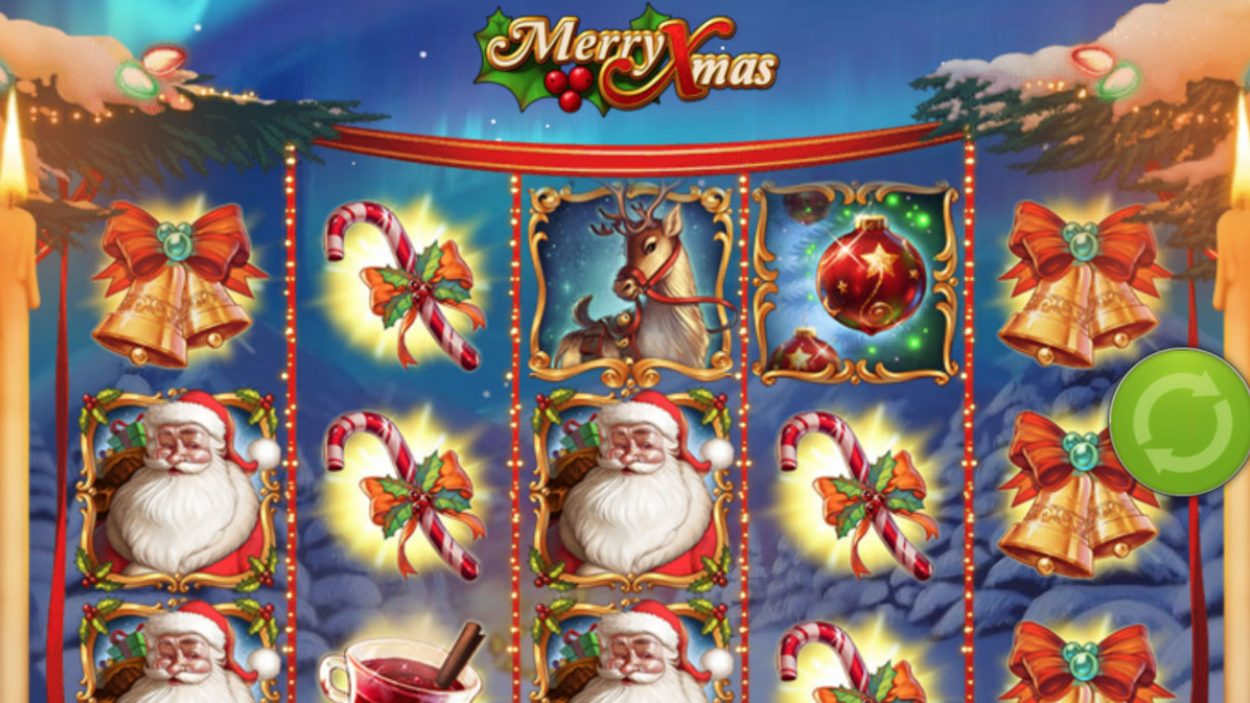 Title screen for Merry Xmas Slots Game