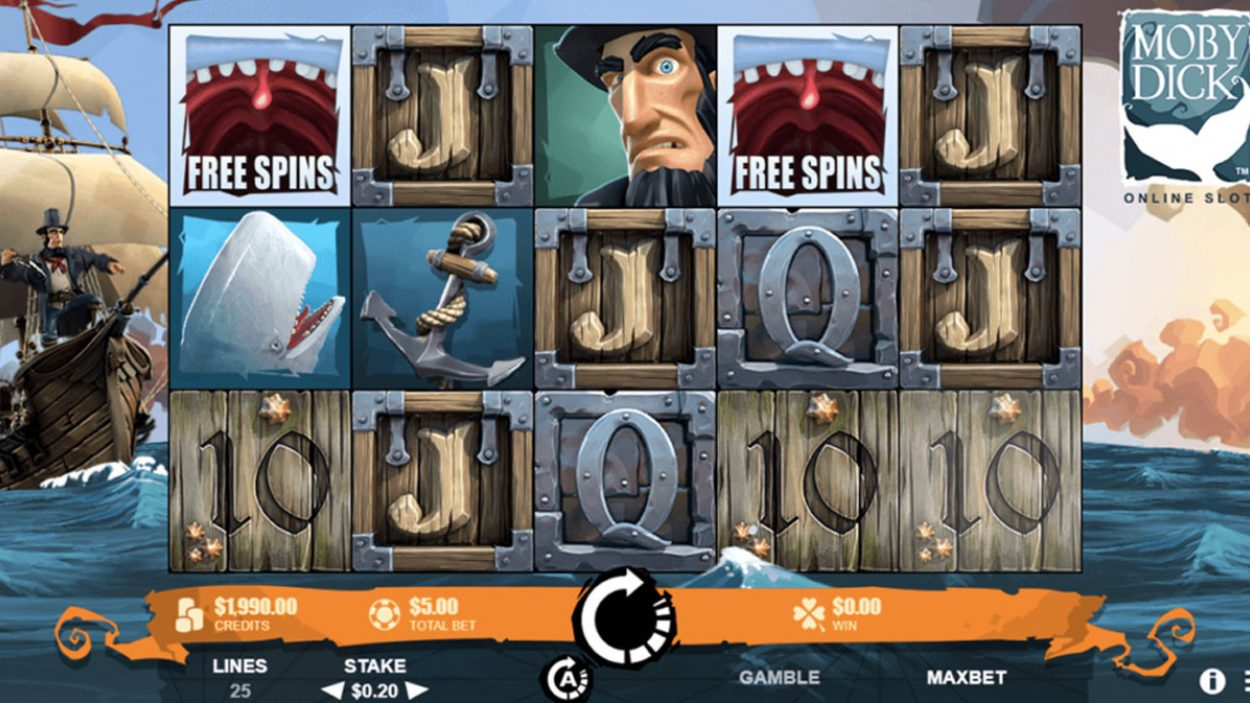 Title screen for Moby Dick Slots Game