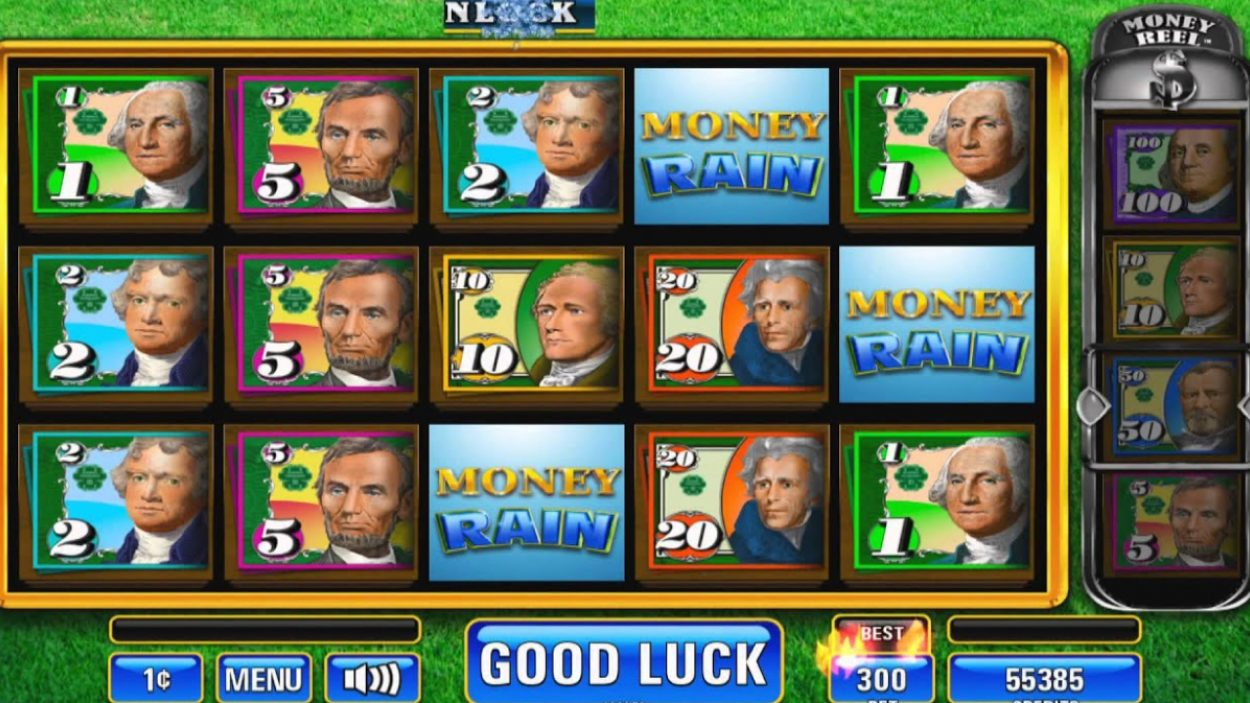 Title screen for Money Rain Slots Game