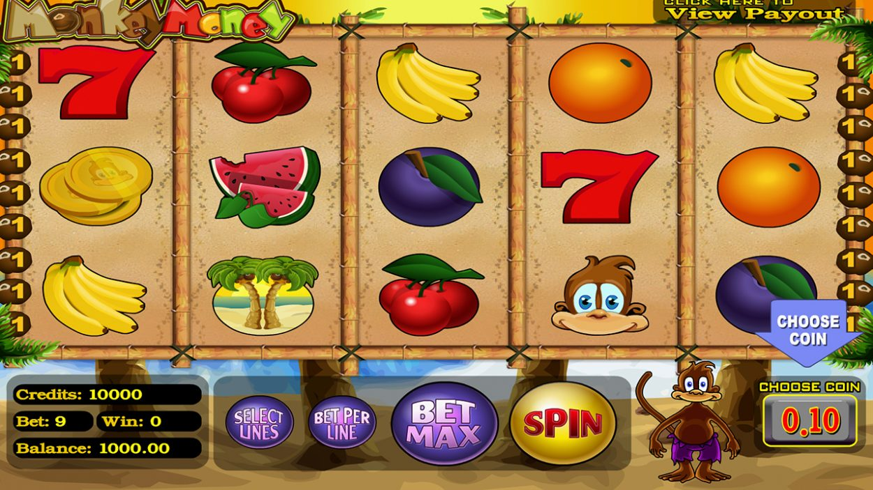 Title screen for Monkey Money slot game