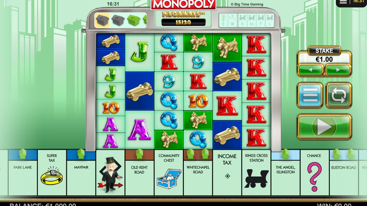 Title screen for Monopoly Megaways slot game