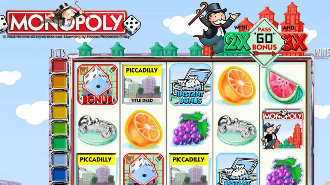 Title screen for Monopoly Slots Game