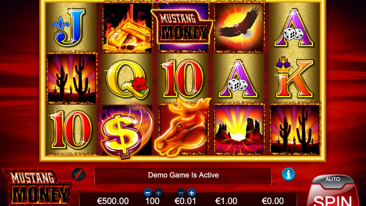 Title screen for Mustang Money slot game