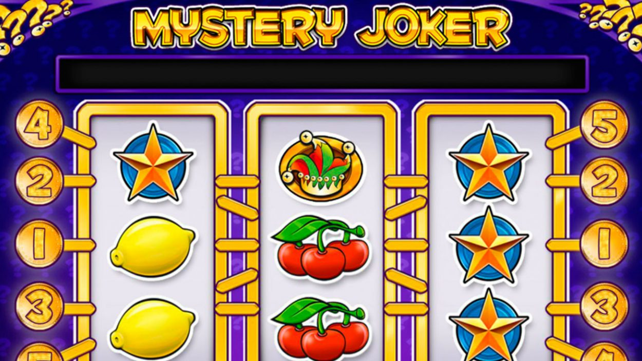 Title screen for Mystery Joker Slots Game