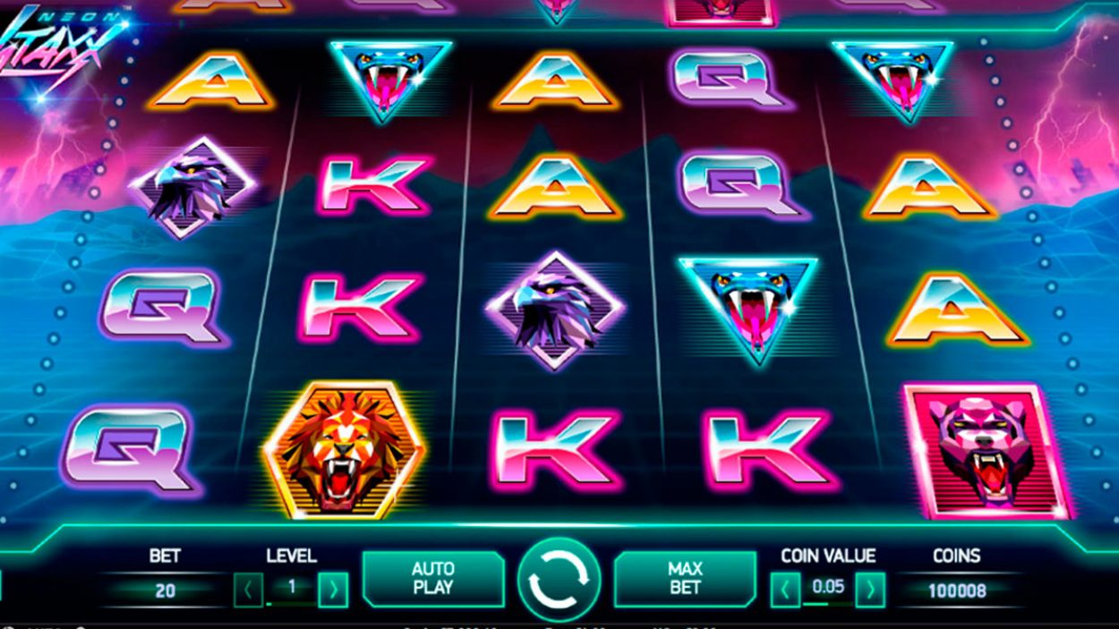 Title screen for Neon Staxx Slots Game
