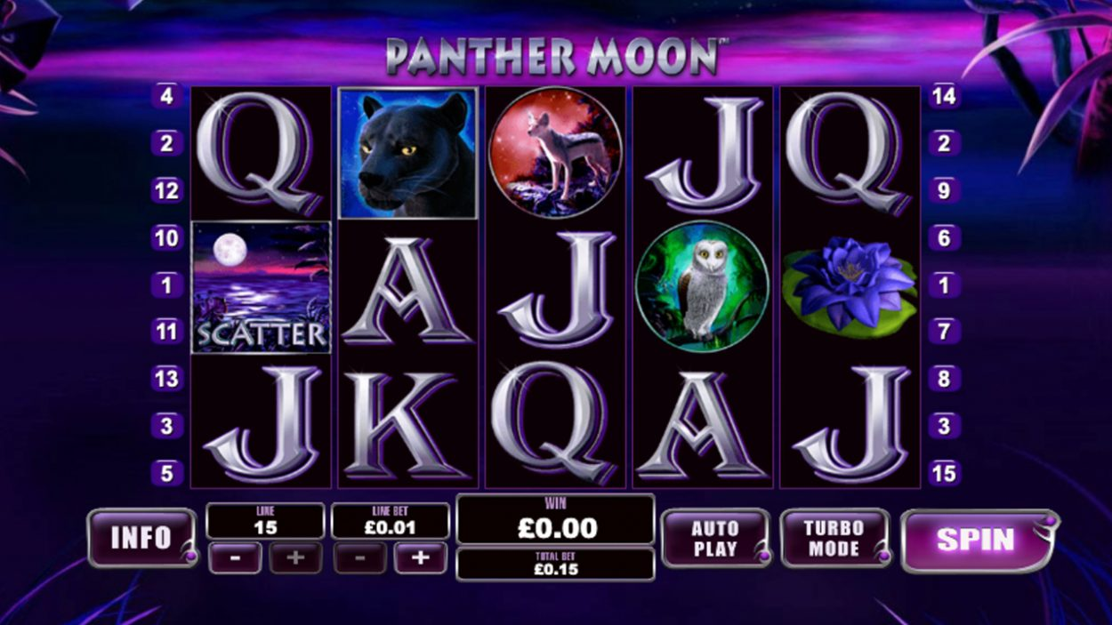 Title screen for Panther Moon slot game